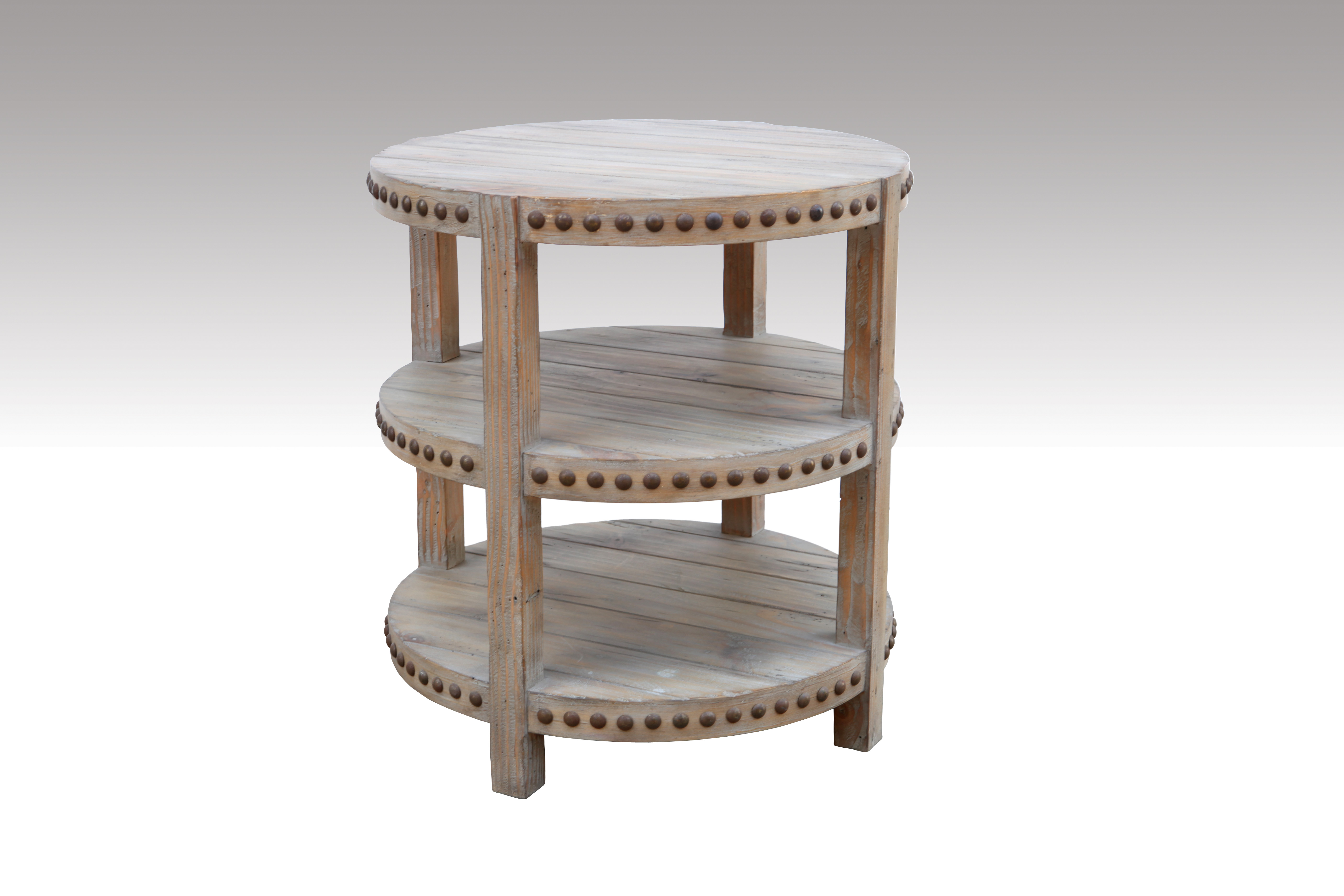 Home Furniture Classical 3 Shelves Round Table Biege Antique Pine Solid Wood