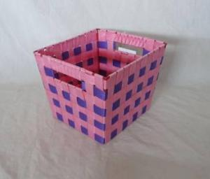 Home Storage Willow Basket Nylon Strap Woven Over Metal Frame Purple And Red Basket