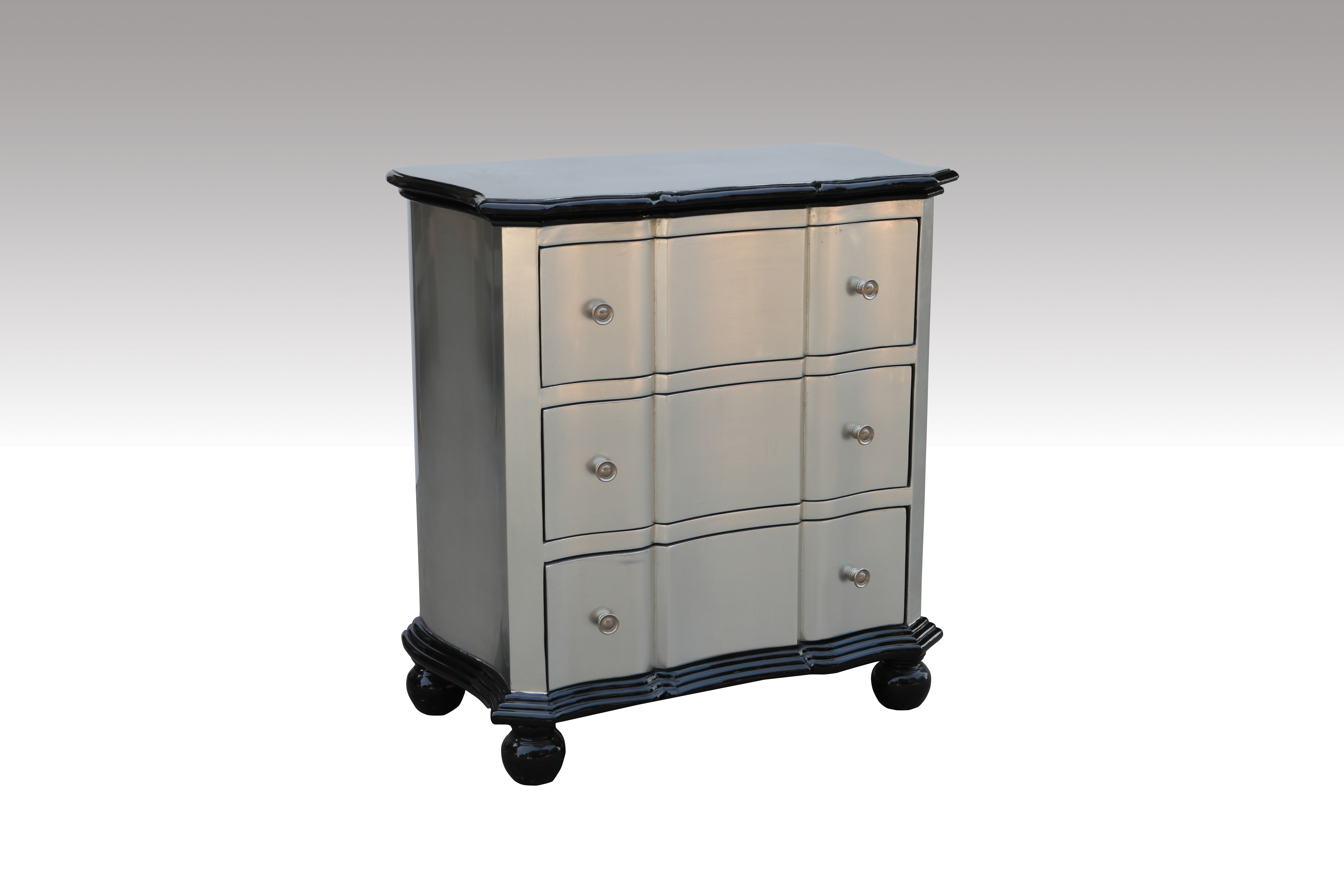 Home Furniture Classical Three Drawer Chest Silver Foil PU High Gloss MDF And Birch Solid