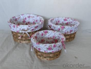 Home Storage Willow Basket Mixed Willow,Seagrass And Woodchip Baskets With Liner S/3
