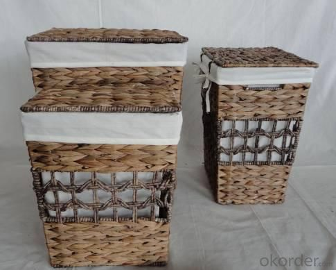 Home Storage Laundry Basket Stained Maize And Waterhyacinth Laundry Baskets With Liner S/3