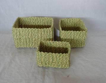 Home Storage Hot Sell Soft Woven  Paper Rope Light Green Box S/3