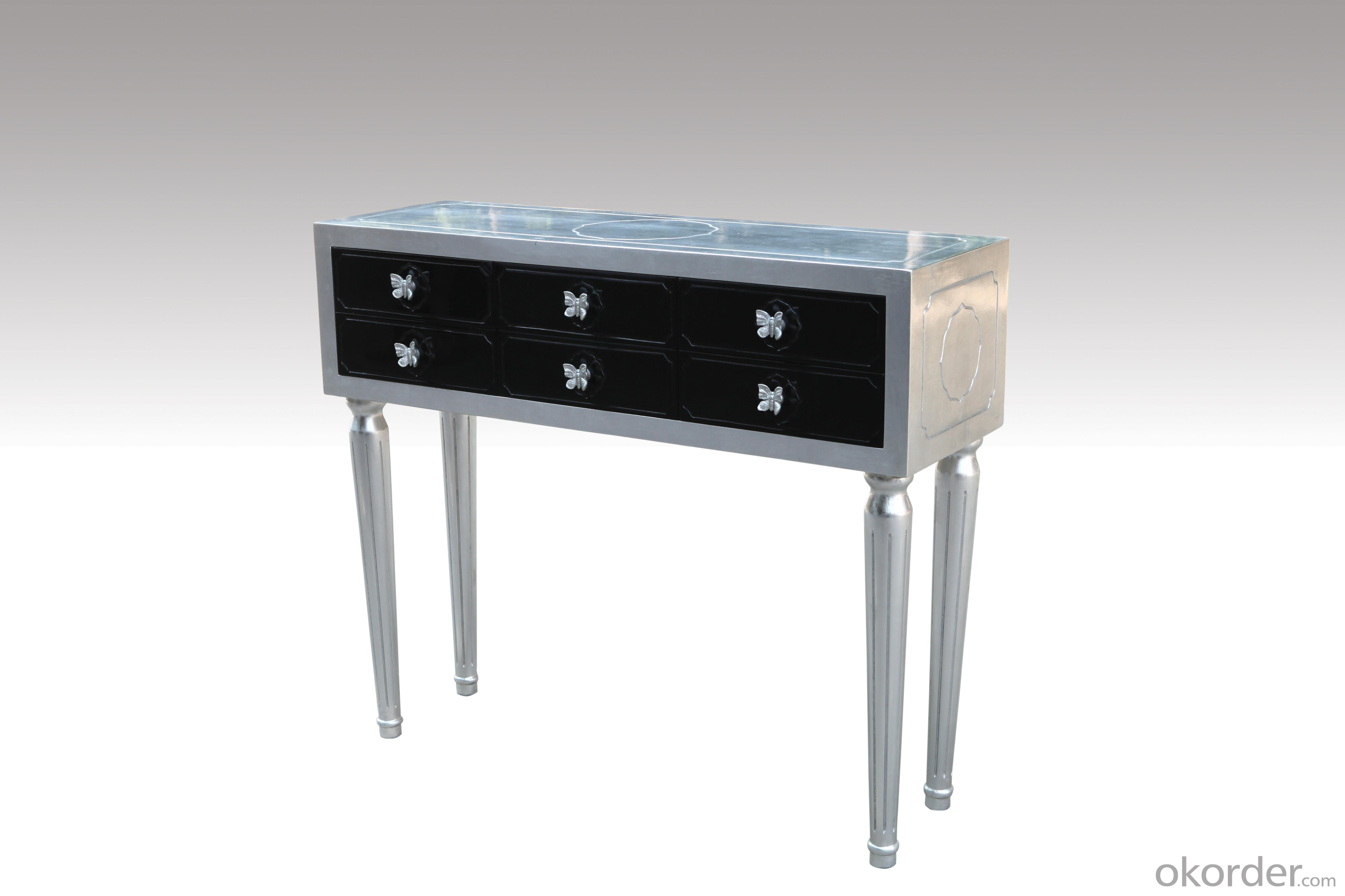 Home Furniture Classical Console With Butterfly Handle Silver Foil PU Black Lacquer MDF And Birch Solid