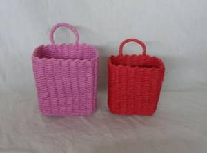 Home Storage Hot Sell Soft Woven Paper Rope Pink And Red Box S/2