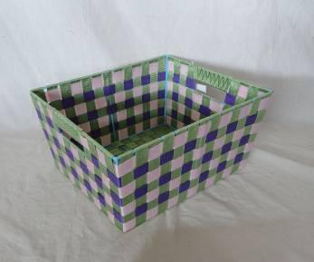 Home Storage Willow Basket Nylon Strap Woven Over Metal Frame Light Grid Basket