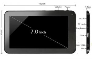 7 Inch Allwinner A23 Dual Core Tablet PC Android 4.2 512MB RAM 4GB 1.5GHz Wifi 800*480 Capacitive Screen Dual Camera Black