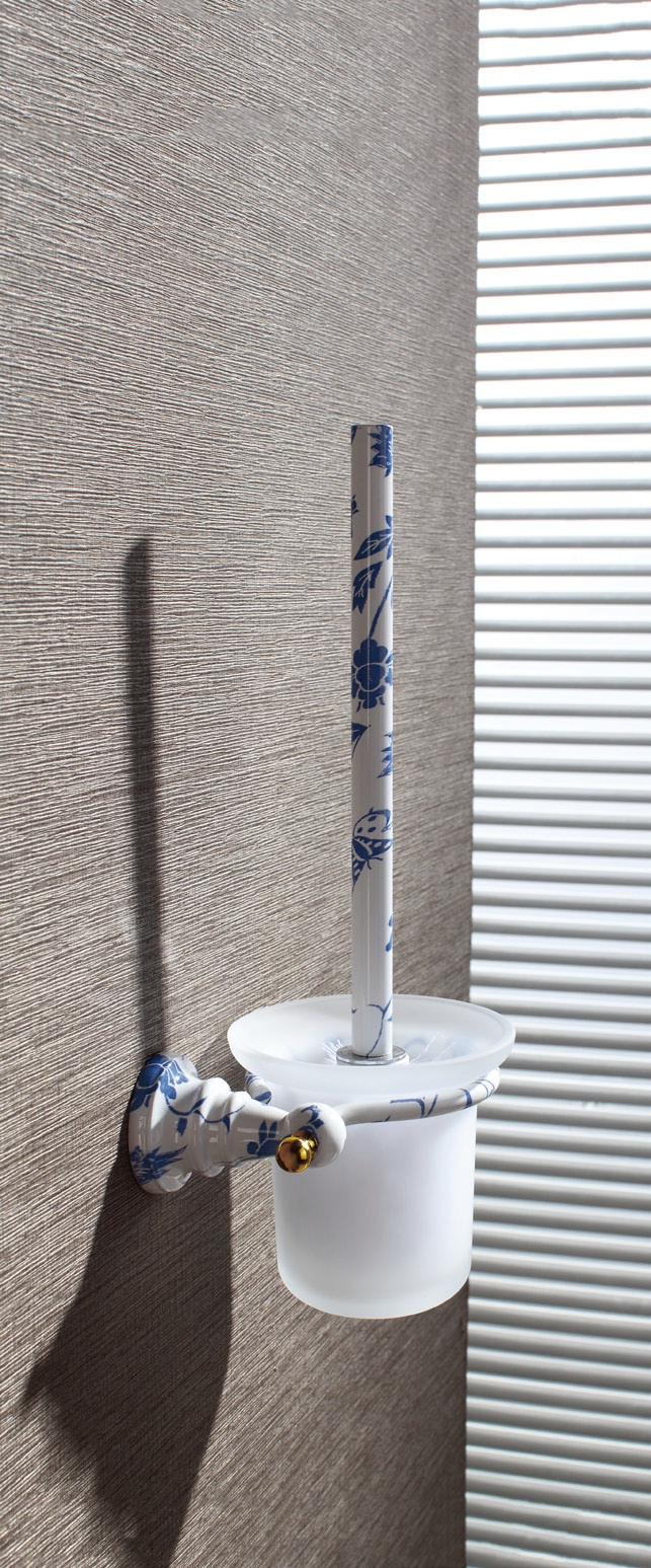 Hardware House Bathroom Accessories Blue And White  Porcelain Series Toilet Brush Holder