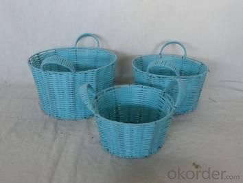 Home Storage Willow Basket Pp Tube Woven Over Metal Frame Baskets S/3