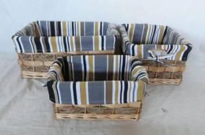 Home Storage Willow Basket Mixed Willow,Seagrass,Cattail Braid,Woodchip Baskets With Liner S/3
