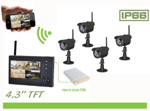 4CH Home Security Outdoor Remote Home Surveillance  System With 4.3Inch LCD Monitor 8108JT4