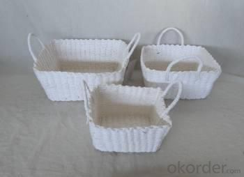 Home Storage Hot Sell Soft Woven  Paper Rope White Box With Handle S/3