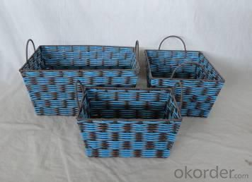 Home Storage Hot Sell Twisted Paper Woven Over Metal Frame Black And Blue Baskets S/3