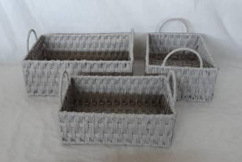 Home Storage Hot Sell Twisted Paper Woven Over Metal Frame Gray Baskets With Handle S/3