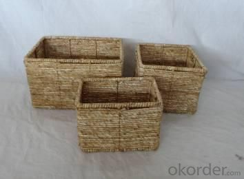 Home Storage Hot Sell Stained Maize Woven Over Metal Frame Squal Baskets S/3