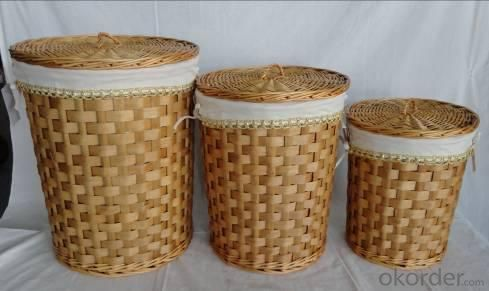 Home Storage Laundry Basket Stained Woodchip Laundry Basket With White Liner S/3