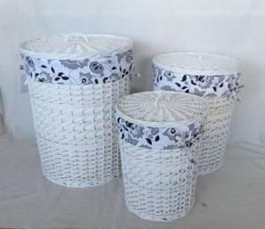 Home Storage Hot Sell White-Painted Woodchip Laundry Baskets With Liner S/3
