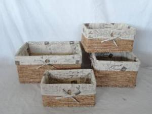 Home Storage Hot Sell Stained Maize Woven Over Metal Frame Light Color Baskets With Liner S/4