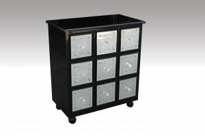 Home Furniture Classical Black PU High Gloss Nine Drawer Chest MDF And Birch Solid