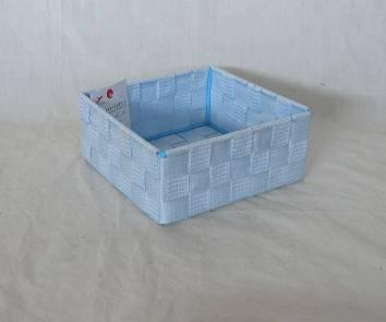 Home Storage Willow Basket Nylon Strap Woven Over Metal Frame Light Blue Basket