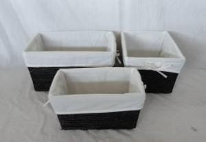 Home Storage Hot Sell Stained Maize Woven Over Metal Frame Dark Color Baskets With Liner S/3