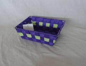 Home Storage Willow Basket Nylon Strap Woven Over Metal Frame Blue And Green Basket