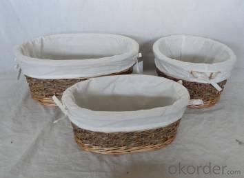Home Storage Willow Basket Mixed Willow,Seagrass,Cattail Braid,Woodchip Oval Baskets With Liner S/3