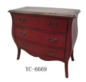 Home Furniture Classical Dark Red 3 Drawer Chest Antique Pine Solid Wood