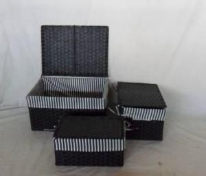 Home Storage Willow Basket Flat Paper Woven Over Metal Frame Baskets With Sway Lid With Liner S/3