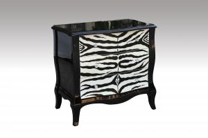 Home Furniture Classical Zebra Pattern Drawer Chest PU High Gloss MDF And Birch Solid