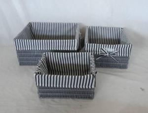 Home Storage Hot Sell Pp Tube Woven Over Metal Frame Baskets With Stripe Pattern Liner S/3