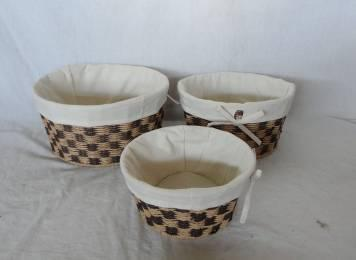 Home Storage Willow Basket Paper Twisted Woven Over Metal Frame Oval Baskets With Liner S/3