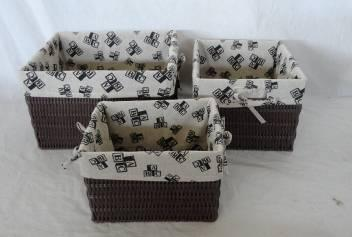 Home Storage Hot Sell Pp Tube Woven Over Metal Frame Baskets With Liner S/3