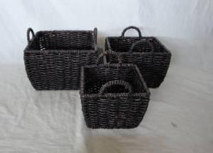 Home Storage Hot Sell Stained Maize Woven Over Metal Frame Practical Baskets S/3
