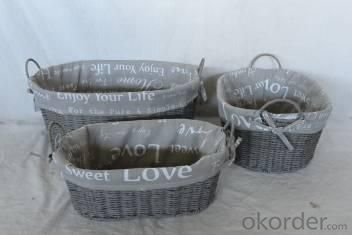 Home Storage Willow Basket Paper Twisted Woven Over Metal Frame Baskets With Gray Letters Pattern Liner S/3