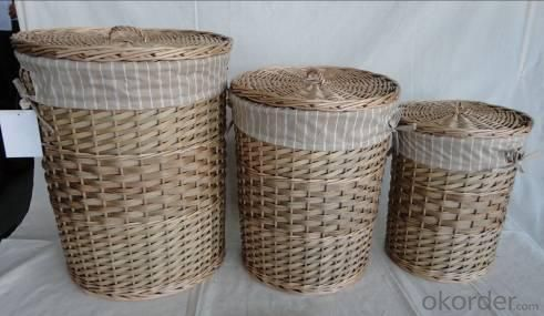 Home Storage Laundry Basket Stained Woodchip And Willow Light Color Laundry Baskets With Liner S/3