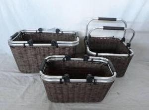 Home Storage Hot Sell Twisted Paper Woven Over Metal Frame Baskets With Aluminium Sway Handles S/3