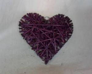 Home Decor Hot Selling Stained Purple Willow-Woven Heart Deco