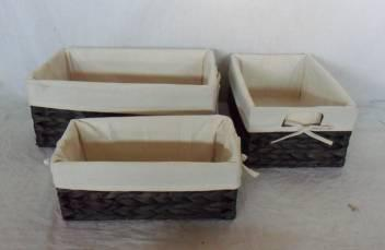 Home Storage Willow Basket Stained Waterhyacinth Woven Over Metal Frame Baskets With Liner S/3
