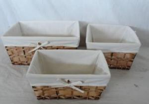Home Storage Hot Sell Stained Woodchip Woven Over Metal Frame Baskets With Liner S/3
