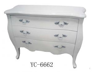 Home Furniture Classical White 3 Drawer Chest PU High Gloss MDF And Birch Solid