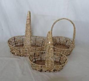 Home Storage Hot Sell Twisted Paper Woven Over Metal Frame Oval Baskets S/3