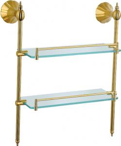 Hardware House Bathroom Accessories Rome Series Titanium Gold Double Glass Shelf