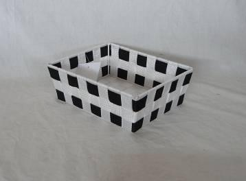 Home Storage Willow Basket Nylon Strap Woven Over Metal Frame Black And White Basket