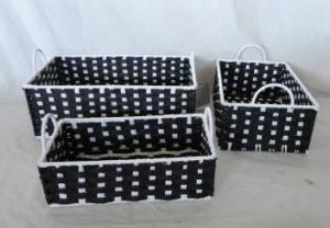 Home Storage Hot Sell Twisted Paper Woven Over Metal Frame White Points Baskets S/3