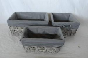Home Storage Willow Basket Washed-Grey Maize And Woodchip Woven Over Metal Frame Baskets With Liner S/3