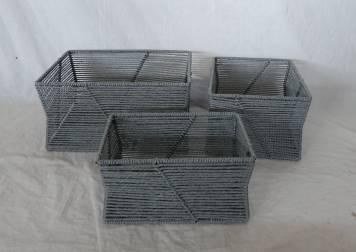 Home Storage Hot Sell Twisted Paper Woven Over Metal Frame Gray Baskets S/3