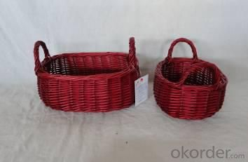 Home Decor Hot Selling Stained Willow Baskets S/2