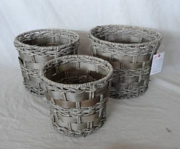 Home Storage Hot Sell Washed-Grey Maize And Woodchip Woven Over Metal Frame Baskets S/3