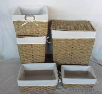 Home Storage Willow Basket Seagrass Woven Over Metal Frame Laundry Baskets With Liner S/5