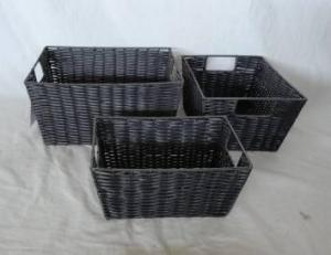 Home Storage Hot Sell Pp Tube Woven Over Metal Frame Baskets With  S/3